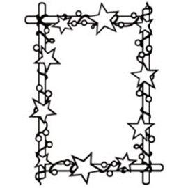 embossing Präge Folder Cartella goffratura: cornice con stelle, 106 x 150 mm