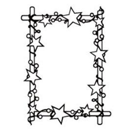 embossing Präge Folder Prægemappe: Ramme med stjerner, 106 x 150 mm