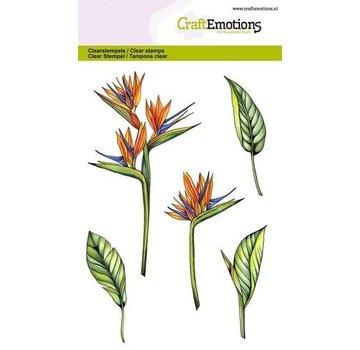 Crealies und CraftEmotions Motif stamp, transparent, A6, paradise flower