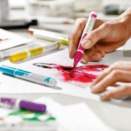 FARBE / STEMPELKISSEN Pincel marcador conjunto Ecoline pinceles de 5 colores!