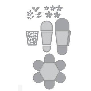 Spellbinders und Rayher Estênceis, Caixa de Pétalas Hexagonais (S6-147)