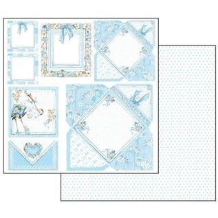 Stamperia und Florella Baby Boy-kaarten, vel 30,5 x 30,5 cm