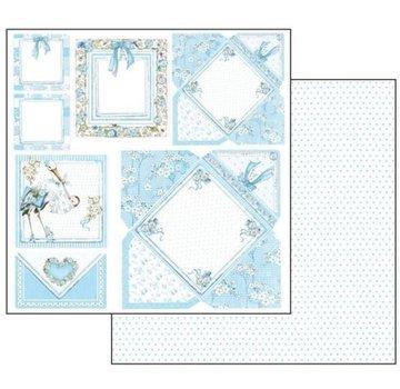 Stamperia Baby Boy Cards, Bogen 30,5 x 30,5 cm