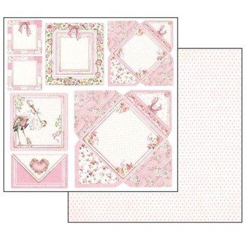 Stamperia Kaarten voor babymeisjes, vel 30,5 x 30,5 cm