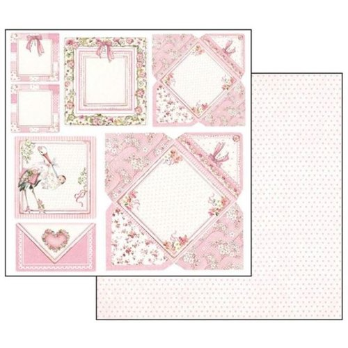 Stamperia Cartes bébé fille, feuille 30,5 x 30,5 cm