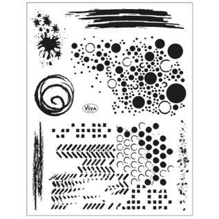 Stempel / Stamp: Transparent Frimærke motiv 14 x 18 cm, grunge baggrunde