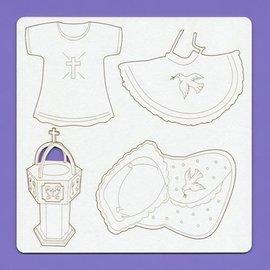 BASTELSETS / CRAFT KITS Chipboard Elementen für Baby / Taufe