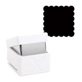 Locher / Stanzer / Punch Pugno a motivi, bordo a conchiglia con motivo quadrato, circa 1,5 cm