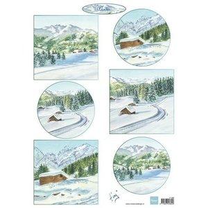 Marianne Design Feuille de photo A4, paysage d'hiver