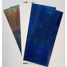 STICKER / AUTOCOLLANT Plakatfolier, meget fine, sølvgrå, hvid og blå
