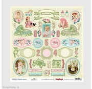 Prima Marketing und Petaloo Designer paper with over 35 labels and baby motifs, printed on both sides, baby