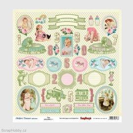 Vintage, Nostalgia und Shabby Shic Designerpapir med over 35 etiketter og babymotiver, trykt på begge sider, baby