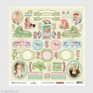Vintage, Nostalgia und Shabby Shic Designerpapier met meer dan 35 labels en baby-motieven, aan beide zijden bedrukt, schat