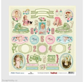 Vintage, Nostalgia und Shabby Shic Designer paper with over 35 labels and baby motifs, printed on both sides, baby