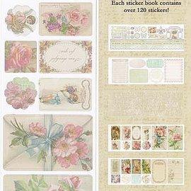 Vintage, Nostalgia und Shabby Shic C'est la Vie, Sticker Book 5 pagine, 120 adesivi