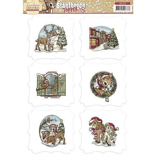 Bilder, 3D Bilder und ausgestanzte Teile usw... vorgestanzter Bogen mit Toppers, Weihnachtsmotive