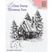 Stempel / Stamp: Transparent Kaarten maken en scrapbook, Stempel motief, banner: besneeuwd huis