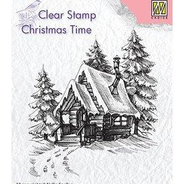 Stempel / Stamp: Transparent Stamp motif, banner: Snowy house