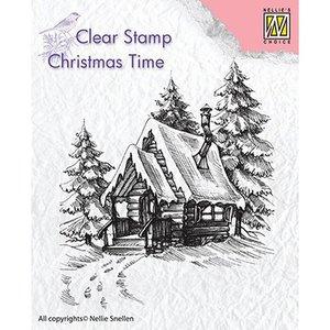 Stempel / Stamp: Transparent Motif de timbre, bannière: Maison enneigée