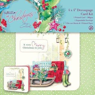 KARTEN und Zubehör / Cards kaartenset, linnen textuur, een heel vrolijke kerst