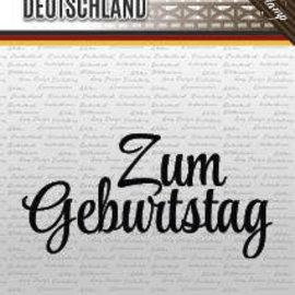 "AMY DESIGN Stamp motif, banner: German text ""Birthday"""