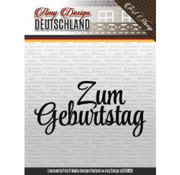 "AMY DESIGN Stamp motif, banner: German text ""Birthday"""