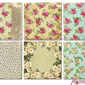 Vintage, Nostalgia und Shabby Shic Kort og scrapbogpapir, 20 x 20 cm, Roses Design