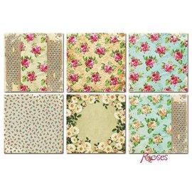 Karten und Scrapbooking Papier, Papier blöcke Tarjetas y papel Scrapbook, 20 x 20 cm, diseño de rosas