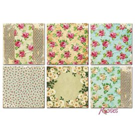 Vintage, Nostalgia und Shabby Shic Tarjetas y papel Scrapbook, 20 x 20 cm, diseño de rosas