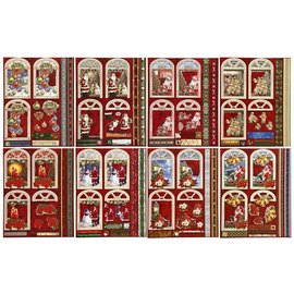 Bilder, 3D Bilder und ausgestanzte Teile usw... håndverk til jul, 16 pre-cut motiver laget av glanset papir med glitter, pakke med 2x 8 design