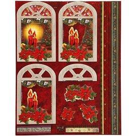 Bilder, 3D Bilder und ausgestanzte Teile usw... basteln für Weihnachten, vorgestanzten Motiven aus glänzendem Papier mit Glitter, Packung mit 8 Designs