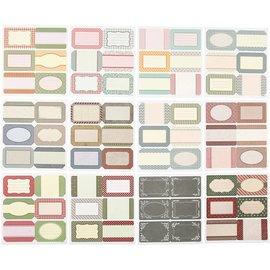 Vintage, Nostalgia und Shabby Shic Plakboek en kaartenstickers met 72 etiketten, etiketten, stickers