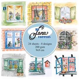 Vintage, Nostalgia und Shabby Shic Toppers Windows, 9 x 9 cm, 24 imágenes