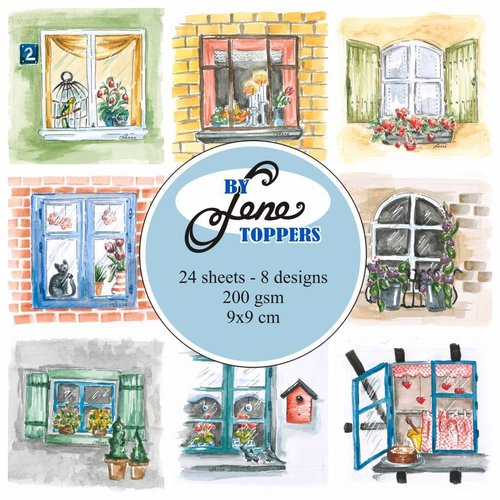 Vintage, Nostalgia und Shabby Shic Toppers Windows, 9 x 9 cm, 24 images