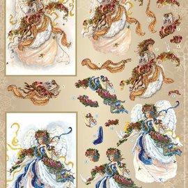 Vintage, Nostalgia und Shabby Shic Foglio A4 con 2 motivi, bellissimi angeli 3D