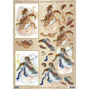 Vintage, Nostalgia und Shabby Shic A4 sheet with 2 motifs, beautiful 3D angels