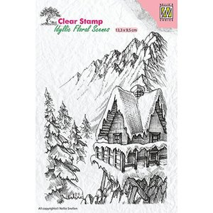 Stempel / Stamp: Transparent Stempelmotief, banner: winters tafereel