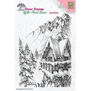 Stempel / Stamp: Transparent Stempelmotiv, banner: Vinterscene