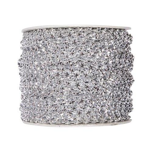 Embellishments / Verzierungen Stars deco ribbon in silver. If desired 1 meter FREE when shopping