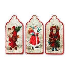 Embellishments / Verzierungen 3 etiquetas, etiquetas con Papá Noel nostálgico