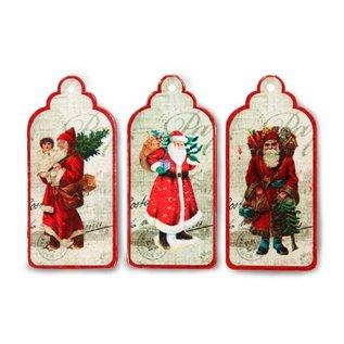 Embellishments / Verzierungen 3 labels, etiketten met nostalgische kerstman