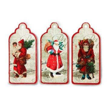 Embellishments / Verzierungen 3 étiquettes, étiquettes avec Père Noël nostalgique