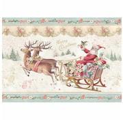 Stamperia Realizza decorazioni natalizie, carta di riso A4, Babbo Natale con slitta