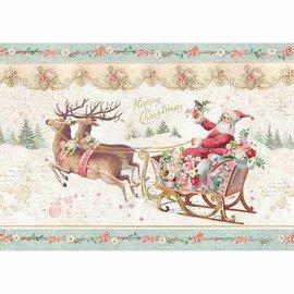 Stamperia Hacer decoraciones de Navidad, papel de arroz A4, Santa Claus con trineo