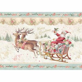 Stamperia Weihnachtsdeko basteln,  Rice Paper A4, Weihnachtsmann mit Schlitten