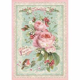 Stamperia weihnachten basteln, Motiv-Strohseide, Rice Paper A4, Vintage Christmas rose