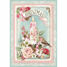 Stamperia Motiv-Strohseide, Rice Paper A4, Vintage Christmas Candle