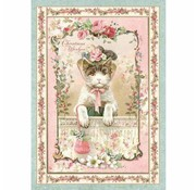 Stamperia Stamperia Rice Paper A4, Vintage Christmas Kitten