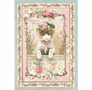 Stamperia weihnachtsdeko basteln, Stamperia Rice Paper A4 , Vintage Christmas Kitten