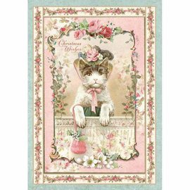 Stamperia Stamperia Rice Paper A4 , Vintage Christmas Kitten